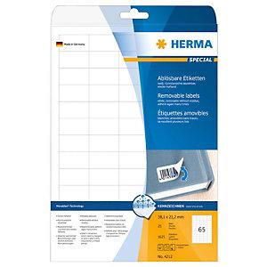 Herma Etiqueta de papel autoadhesiva despegable, 38,1 x 21,2mm, 25 hojas, 65 etiquetas por hoja A4, blanco
