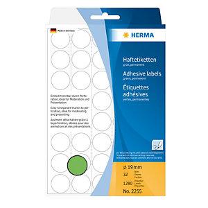 Herma Etiqueta de papel de colores adhesiva permanente, redonda, 19mm, 32 hojas, 40 etiquetas por hoja, verde