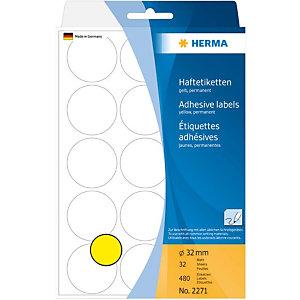 Herma Etiqueta de papel de colores adhesiva permanente, redonda, 32mm, 32 hojas, 15 etiquetas por hoja, amarillo