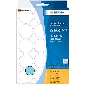 Herma Etiqueta de papel de colores adhesiva permanente, redonda, 32mm, 32 hojas, 15 etiquetas por hoja, azul