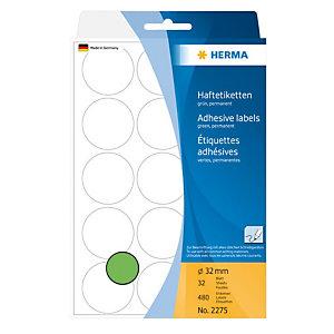 Herma Etiqueta de papel de colores adhesiva permanente, redonda, 32mm, 32 hojas, 15 etiquetas por hoja, verde