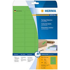 Herma Etiqueta de papel de colores autoadhesiva despegable, 45,7 x 21,2mm, 20 hojas, 48 etiquetas por hoja A4, verde