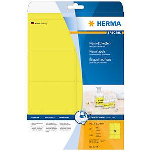 Herma Etiqueta de papel fluorescente autoadhesiva permanente, 99,1x67,7mm, 20 hojas, 8 etiquetas por hoja A4, amarillo luminoso