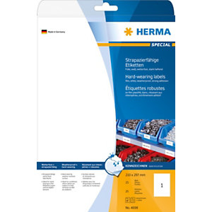 Herma Etiqueta de poliéster autoadhesiva permanente, 210 x 297 mm, 25 hojas, 1 etiqueta por hoja A4, blanco