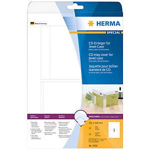 Herma Portada para carcasa de CD no adhesiva, perforada, 151 x 118mm, 25 hojas, 1 etiqueta por hoja A4, blanco