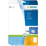 Herma Premium Etiqueta de papel autoadhesiva permanente, 210x297mm, 25 hojas, 1 etiqueta por hoja A4, blanco