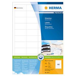 Herma Premium Etiqueta de papel autoadhesiva permanente, 48,3x25,4mm, 100 hojas, 44 etiquetas por hoja A4, blanco