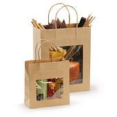 Hnedé darčekové tašky s okienkom