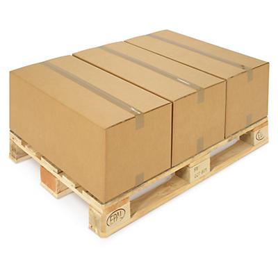Hnedé klopové krabice z päťvrstvovej vlnitej lepenky RAJABOX, paletovateľné