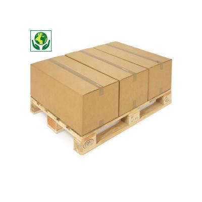 Hnědé klopové krabice z pětivrstvé vlnité lepenky RAJABOX, paletovatelné