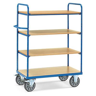 Hoge etagewagen met houten legborden