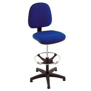 Hoge stoel in blauwe stof