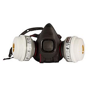 Honeywell Kit semi maschera HM500, Bifiltro a baionetta in elastomero,Versione drop-down+ Coppia filtri P3, Adatto a tutti i tipi di polveri