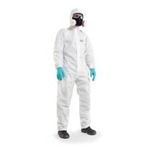 Honeywell Tuta da lavoro Mutex 2, Categoria 3, Tipo 5 e 6, Propilene antistatico e polietilene, Monouso, Bianco, Taglia L