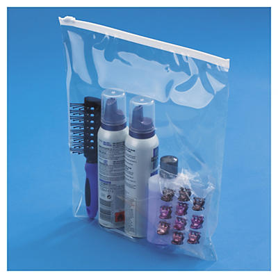 Sachet plastique haute brillance à curseur et à soufflets##Hoogglanzend plastic zakje met zipsluiting en bodemvouw