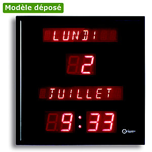 Horloge LED électrique à date - ORIUM - Noir
