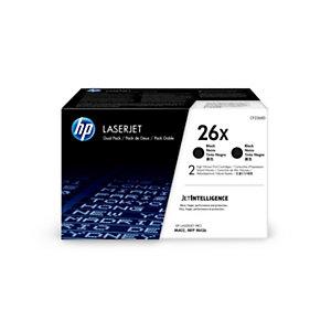 HP 26X, CF226XD, Tóner Original, Negro, Alta Capacidad, Pack de 2