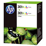 HP 301XL Cartouche d'encre authentique grande capacité Pack de 2 Tricolore (D8J46AE) - Cyan, Magenta, Jaune
