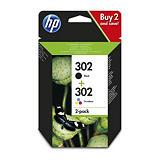 HP 302 Cartouche d'encre authentique Pack de 2 Noir et Tricolore (X4D37AE) - Noir, Cyan, Magenta, Jaune