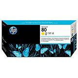 HP 80, C4823A, Cabezal de Impresión y Limpiador de Cabezales, Amarillo,