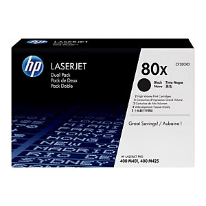 HP 80X, CF280XD, Tóner Original, Negro, Alta Capacidad, Pack de 2