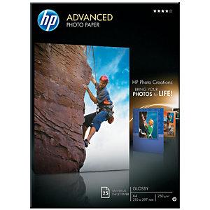 HP Advanced Carta Fotografica A4 per Stampanti Inkjet, 250 g/m², Bianca Lucida (confezione 25 fogli)