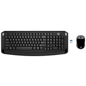 HP Clavier et souris sans fil 300, Standard, Sans fil, RF sans fil, Clavier à membrane, Noir, Souris incluse 3ML04AA