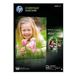 HP Everyday Carta Fotografica A4 per Stampanti Inkjet, 200 g/m², Bianca Lucida (confezione 100 fogli)