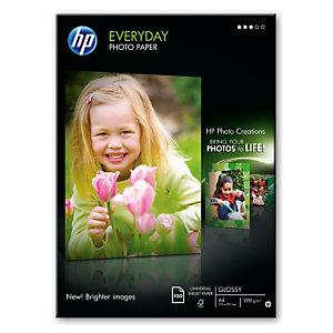 HP Everyday Papel Fotográfico para Impresoras de Inyección de Tinta Blanco Brillante A4 200 g/m²