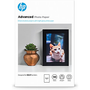 HP Papier brillant sans bordure Advanced (100 feuilles/10 x 15 cm), Gloss, 250 g/m², Laser/a jet d'encre, 10x15 cm, Noir, Bleu, Blanc, 100 feuilles Q8692A