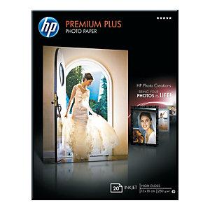 HP Papier photo brillant 130 x 180 mm blanc 280g Premium Plus pour Jet d'encre - Boîte de 20 feuilles