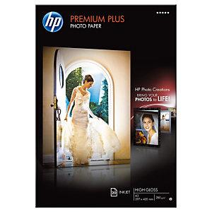 HP Papier photo brillant A3 blanc 280g Premium Plus pour Jet d'encre - Boîte de 20 feuilles