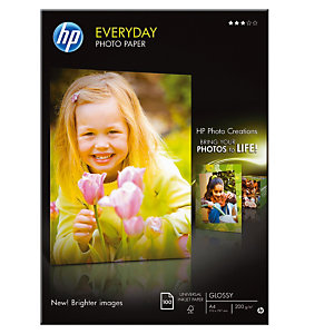 HP Papier photo brillant A4 blanc 200g Everyday pour Jet d'encre - Boîte de 100 feuilles