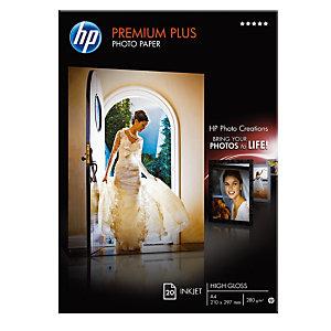 HP Papier photo brillant A4 blanc 280g Premium Plus pour Jet d'encre - Boîte de 20 feuilles
