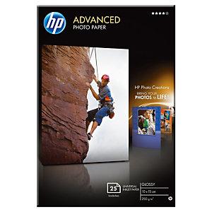 HP Papier photo brillant A6 blanc 250g Advanced pour Jet d'encre - Boîte de 25 feuilles
