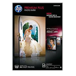 HP Premium Plus Carta Fotografica A4 per Stampanti Inkjet, 300 g/m², Bianca Lucida (confezione 20 fogli)