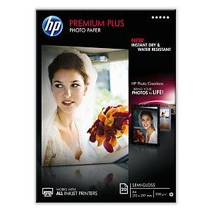 HP Premium Plus Carta Fotografica A4 per Stampanti Inkjet, 300 g/m², Bianca Semi-lucida (confezione 20 fogli)