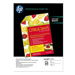 HP Professional Carta Fotografica A4 per Stampanti Inkjet, 180 g/m², Bianca Lucida (confezione 50 fogli)