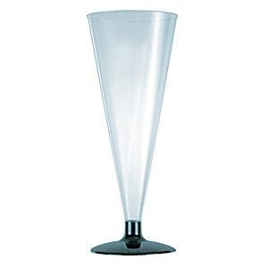 HUHTAMAKI Flûtes à champagne jetables plastique transparent 17 cl - transparente, base noire
