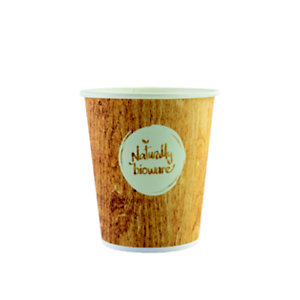 HUHTAMAKI Gobelet jetable pour boisson chaude ou froide, 10 cl en carton biodégradable, 4 coloris assortis, impression Naturally Bioware
