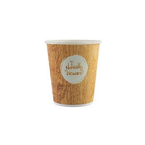 HUHTAMAKI Gobelet jetable pour boisson chaude ou froide, 20 cl en carton biodégradable, 4 coloris assortis, impression Naturally Bioware
