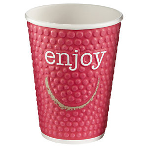 HUHTAMAKI Gobelets boisson chaude / froide en carton recyclable Enjoy de 300ml, couleurs assorties, lot de 34