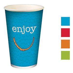 HUHTAMAKI Gobelets pour boisson froide en carton recyclable Enjoy de 300ml, couleurs assorties, lot de 100