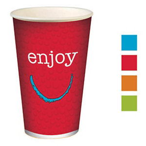 HUHTAMAKI Gobelets pour boissons froides en carton recyclable Enjoy de 400ml, couleurs assorties, lot de 50