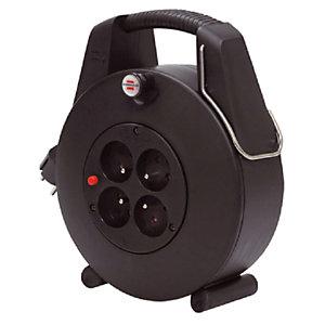 Huishoudelijke elektrische haspel Confort-Line Brennenstuhl, Design-Box 4 stopcontacten, kabel 20m H05VV-F 3G1,0, zwarte kleur