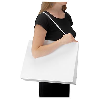 Hvid lakpose med skulderlang hank