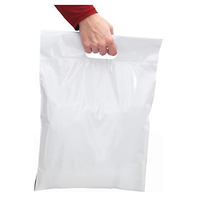 Hvide forsendelsesposer med returlukning og håndtag