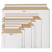 Hvide kartonkuverter med selvklæbende lukning