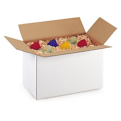 Hvide papkasser i enkelt bølgepap Rajabox