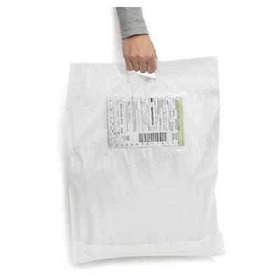 Hvite e-handelsposer med utvendig plastlomme og bærehåndtak